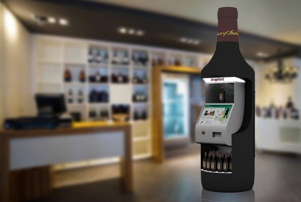Weinflaschen-Faktise mit interaktivem Element zur Weinberatung